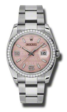 Rolex Datejust Pink Wave Dial Automatic Diamond Bezel Steel Ladies Watch 116244