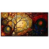 Santin Art-Mordern Abstract Oil Painting Wood Framed on the Back Artwork Ready to Hang Wall Decor on Canvas 3pcs/set Mixorde