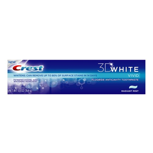 Crest - 3D White Vivid Fluoride Anticavity Toothpaste Radiant Mint Flavor, 5.8-Ounce Carton (Pack of 4)
