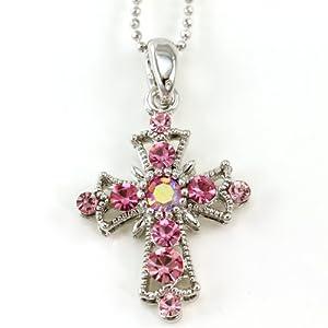 Light Pink Christian Cross Pendant Necklace Charm Chain Women Fashion Jewelry