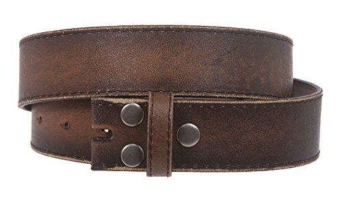 Snap On Genuine Vintage Retro Stitching-Edged Distressed Leather Belt Strap Size: M 33 - 35 Color: Brown