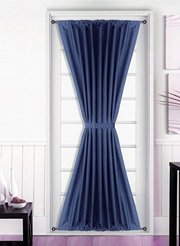 GorgeousHomeLinen 1 Daysi Navy Blue French Door Foam Backing Insulated Heavy Thick Thermal Blackout Rod Pocket Curtain Panel with Tieback 55