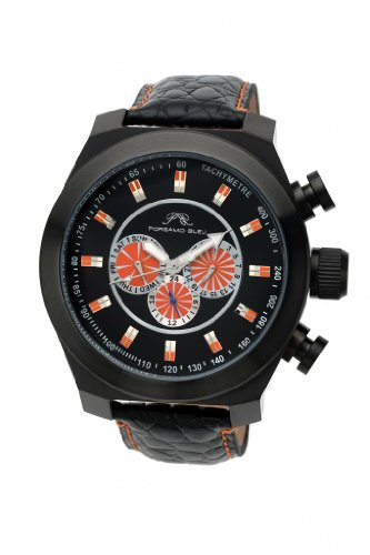 Porsamo Bleu Sydney G Genuine Leather Black & Orange Men's Watch 231ASGL