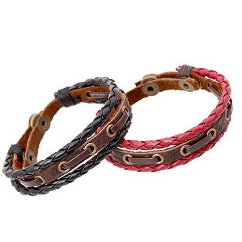 Ccsc-Pec Unisex-Adult'S Genuine Leather Wristband Mens Wide Leather Bracelet With Snap Button ,Adjustable Size,Pack Of 2