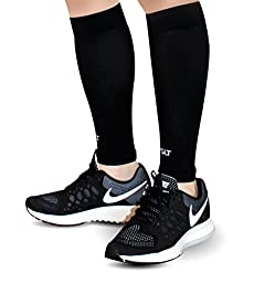 Calf Compression Sleeves for Shin Splints, Leg Pain & Support by AprilTex - Increases Blood Circulation to Reduce Leg Cramps & Muscle Aches - Ultimate Comfort & Breathability - 1 Pair. (Black ,L-XL)