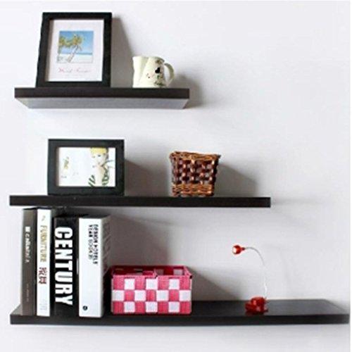 1 Set Wall Floating Board Shelf Storage Shelves Bookshelf Shop Display Black (Expresso Tabs compare prices)
