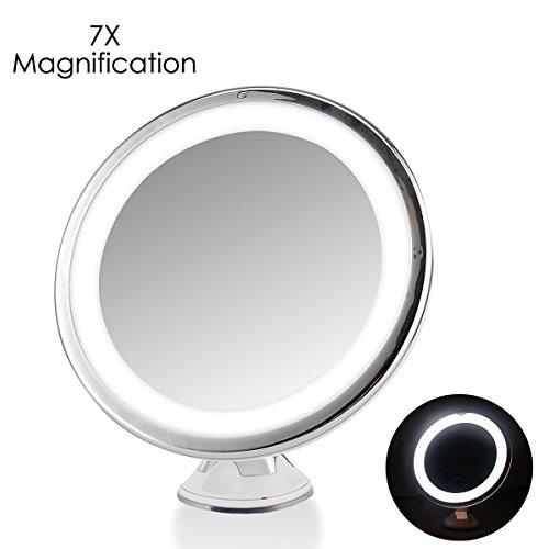 Kosmetikspiegel 7 X Vergrößerung mit LED Beleuchtung ,Drehbar Touch Control