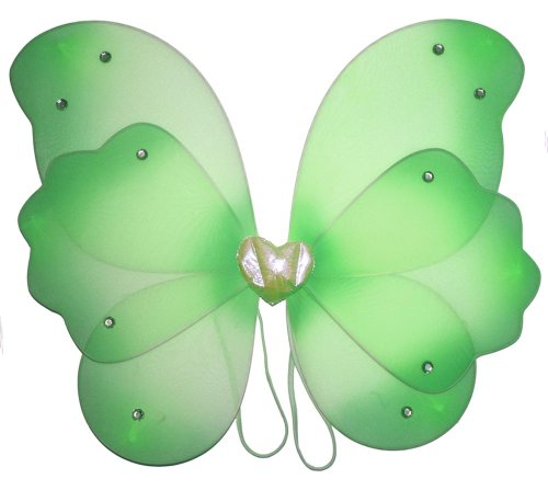 Green Layered Butterfly Wings Dress Up Fairy Girl Birthday Party Halloween Costume