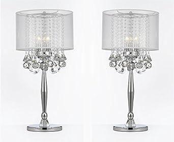 SET OF 2 ! Silver Mist 3 Light Chrome Crystal Table Lamp
