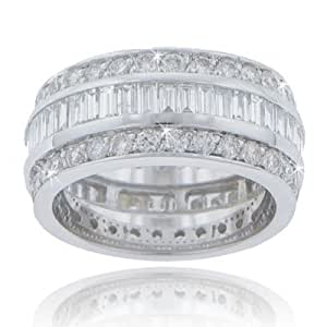 6.00 ct. TW Large Baguette and Round Diamond Eternity Wedding Band in 14k Size 12