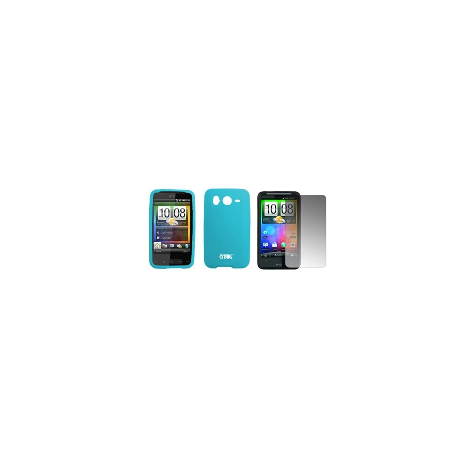 EMPIRE Light Blue Silicone Skin Cover Case + Screen Protector for HTC Desire HD
