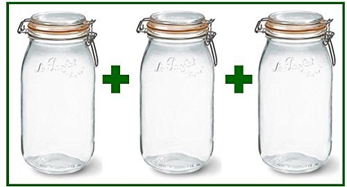Set of 3 - Le Parfait French Super Canning Jars With Bail Lid - 68 oz / 2 liters