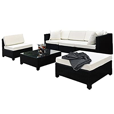 TecTake Luxury Rattan Aluminium Garden Furniture Sofa Set Outdoor Wicker black + 2 Sets For Exchanging The Upholstery
