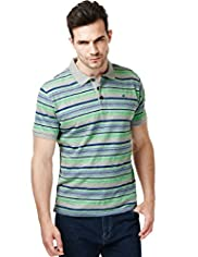 "2"" Longer North Coast Varied Striped Polo Shirt"