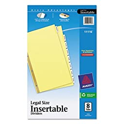 Insertable Dividers,4-Hole Punch,8-Tab,14\