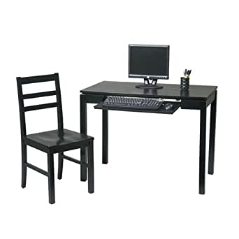 Office Star BK252W and Stone Chair Desk, Black