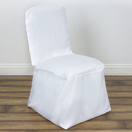 BalsaCircle 10 pcs Polyester Banquet CHAIR COVERS - White