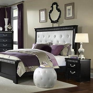 Standard Furniture Venetian Black 2 Piece Panel Bedroom Set w/ Upholstered Headboard in Black