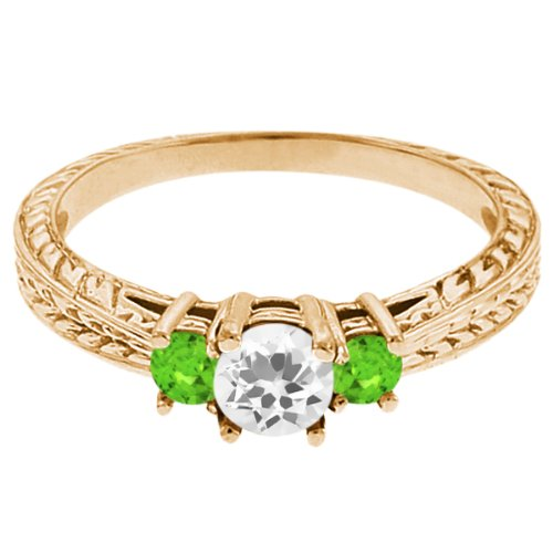 0.59 Ct Round White Topaz Green Sapphire 14K Yellow Gold 3-Stone Ring