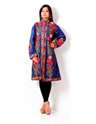 Inara Robes Women's Royal Blue party Wear Emroided kashmiri Jacket