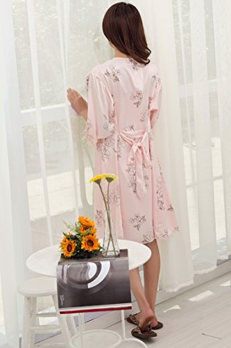 Bininbox Women's Vintage Floral Imitated Silk 2 PCS Sleepwear Nightgown Robes 4