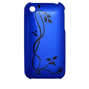 Stylish Blue Plastic Case w Black Flower for iPhone 3G