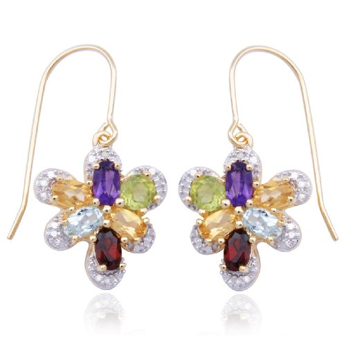 18k Yellow Gold Plated Sterling Silver Multi-Gemstone and Diamond Accent Butterfly Earrings