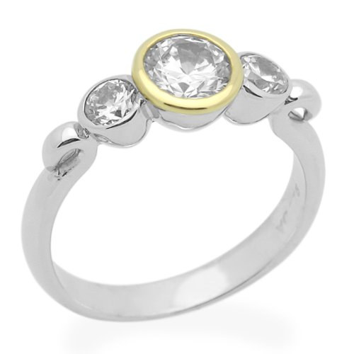 Sterling Silver Engagement Ring Wedding Ring 1ctw Cubic Zirconia Bezel Set Three Stone