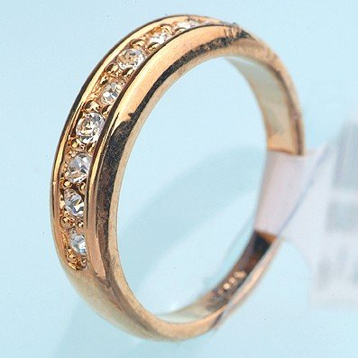 Free Shipping New 18k Yellow Gold Plated Clear Cz Wedding Band Ring 110504 Size 9
