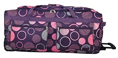 """Frenzy® Purple Spiral, Lightweight Extra Large 34"""" Wheeled Trolley Luggage Suitcase Holdlall, only 3.50kg, MASSIVE 128 litre capacity (Purple)"""