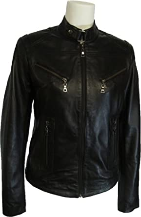Womens 100% Real Leather Jacket Black #Z1 (10)