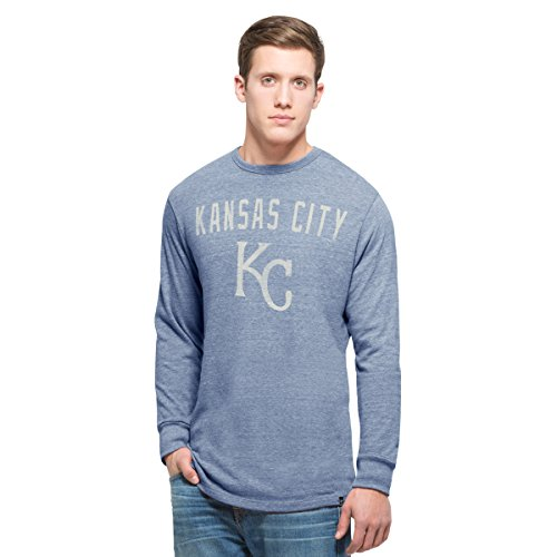 MLB Kansas City Royals Men's '47 Team Tri-State Long Sleeve Tee, X-Large, Coastal Blue