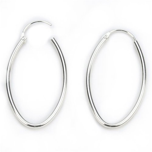 Barse Sterling Silver Oval Endless Hoop Earring, 4.0cm