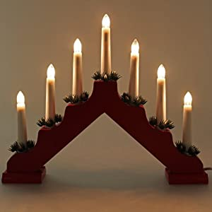 Red pine pre lit wooden candle bridge window table christmas decoration with 7 led candles - Appealing christmas led candles for christmas decorations ...