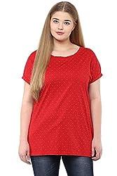 Alto Moda by Pantaloons Women's Round Neck T-Shirt (205000005612242, Red, XXXXXXX-Large)
