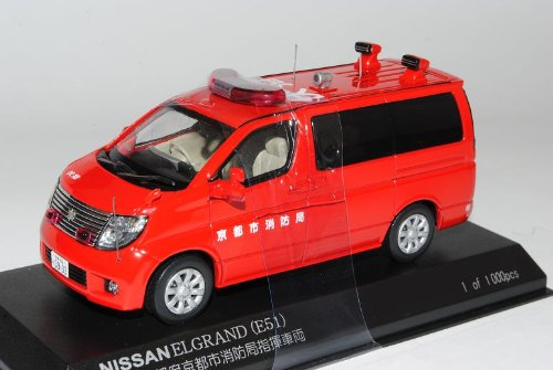 Nissan Elgrand E51 Feuerwehr Rot Transporter 2002-2010 1/43 J-Collection Modell Auto
