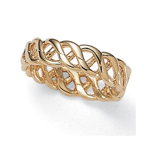 PalmBeach Jewelry 14k Gold Plated Braided Band Ring