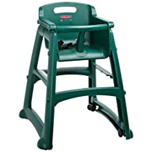 "Rubbermaid Commercial FG780508 Dark Green Sturdy Chair Youth Seat with Wheels, 23.5"" Length, 23.38"" Width, 29.75"" Height"