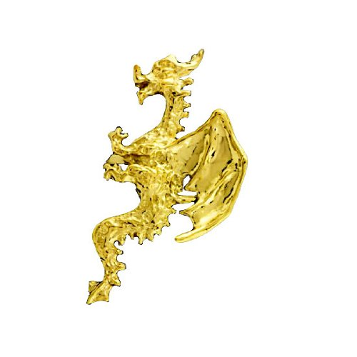 Left Only Gold Vermeil Pierceless Flying Horned Dragon Ear Cuff