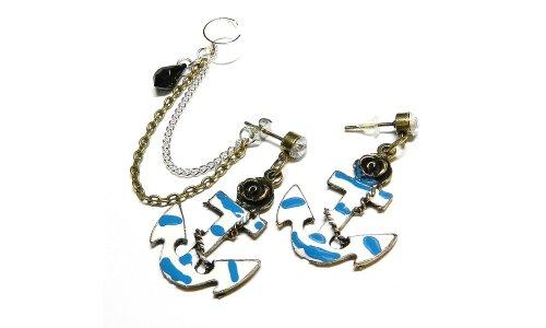 Anchor Rose Swarovski Chain Ear Cuff Handmade