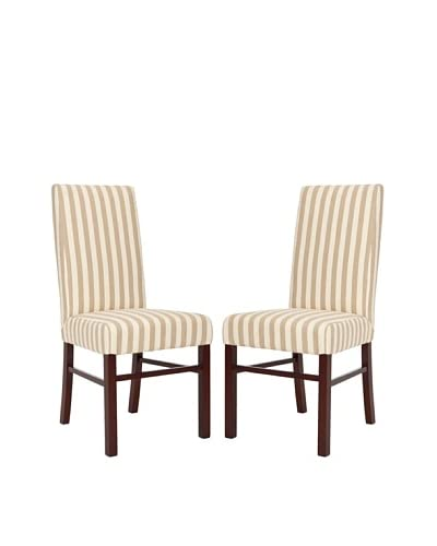 Safavieh Set of 2 Classic Side Chairs, Cream/Tan Stripe