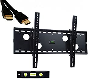 VideoSecu TV wall mount tilt fits Sharp AQUOS 37 40 42 46 60 70 inches LC37SH20U LC37D53X LC37D63X LC37D40U LC-37DB5U LC-40C37U LC42PD7X LC-42d62U LC-42d72U LC-42D43U LC46PD7X LC46D43U LC-46D92U LC-46D62U LC46D92U LC52LE830U LC60E69U LC-60E79U LC60LE632U LC60LE831U LC60LE835U LC70LE632U LC70LE732U LC70LE735U with free 7 feet HDMI cable and 6 inches 3-Axis Magnetic Bubble Level C83