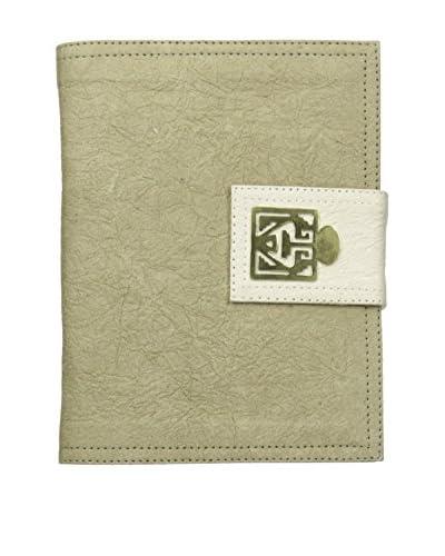 Marina Vaptzarov Medium Soft Vegetal Leather Cover Travel Diary with Brass Detail, Natural/White