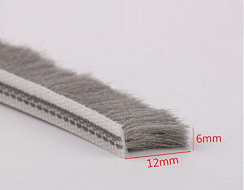 6mm x 12mm aluminum sliding door window brush seal dustproof strip weatherstripping draught excluder (Window Brush Seal compare prices)