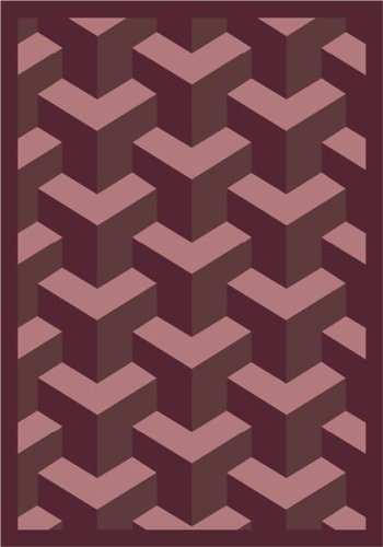 Joy Carpets Kaleidoscope Rooftop Whimsical Area Rugs, 64-Inch by 92-Inch by 0.36-Inch, Plum