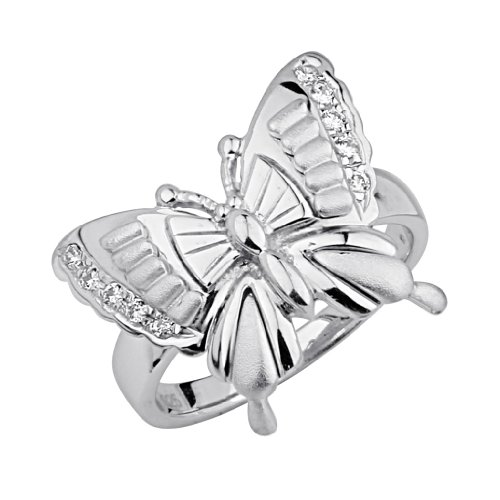 .925 Sterling Silver CZ Floating Butterfly Womens Fancy Ring - Size 9