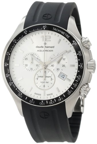 Claude Bernard Men's 10203 3 AIN Aquarider Silver Chronograph Tachymeter Rubber Watch