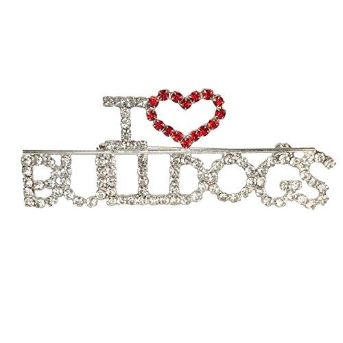 I Love Bulldogs Rhinestone Blingy Worded Silver Tone Pin Brooch (American Bulldog For Sale compare prices)