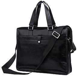Iblue Mens Excellent Vintage Business Leather Briefcase Messenger Bag Black 14.5 Inch #7181a