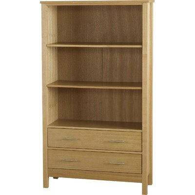 Alexander Two Drawer High Bookcase - Natural Oak Veneer
